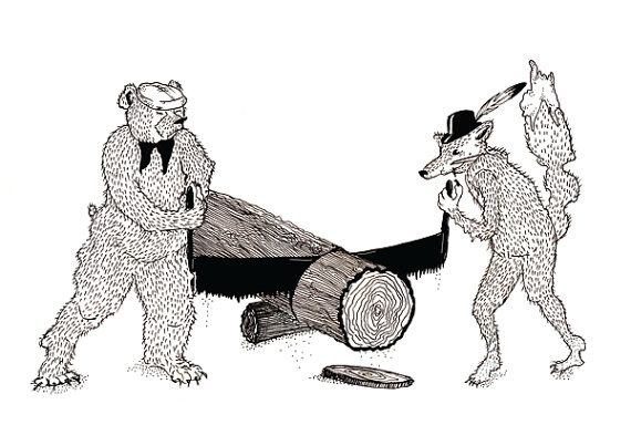 Bear & fox with saw